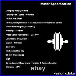 48V 1500W Freewheel Hub Motor for Electric Bicycle E-bike Rear Wheel & Parts